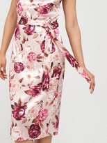 boohoo Satin Cowl Neck Belted Slip Midi Dress - Multi