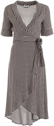 Ganni Gingham Wrap Midi Dress