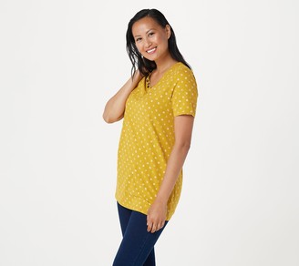 Denim & Co. Petite Printed Jeresey V-Neck Tunic with Pockets
