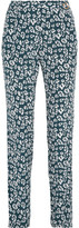 Equipment Carla Printed Washed-silk Tapered Pants - Storm blue