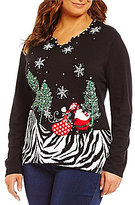 "Berek Plus ""Frolicking Santa"" Christmas Sweater"