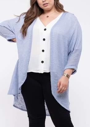 Blu Pepper Open Front Knit Cardigan (Plus Size)