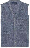 Lardini Ribbed Mélange Cotton and Linen-Blend Vest