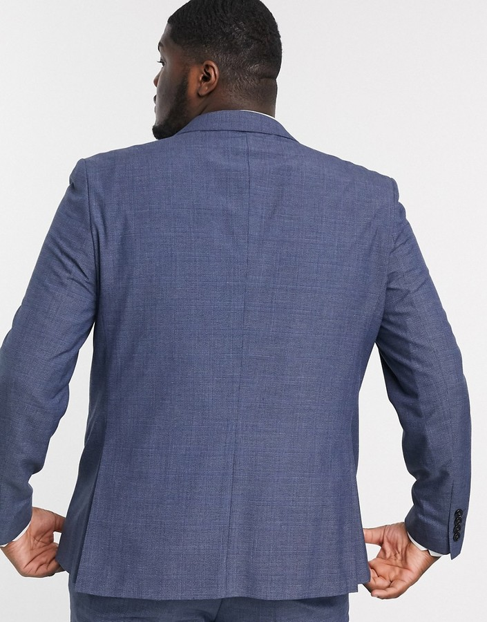 Thumbnail for your product : Burton Menswear Big & Tall slim suit jacket in blue check
