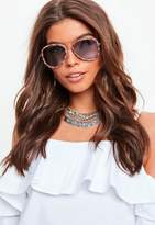 Missguided Pink Printed Frame Sunglasses