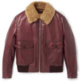 Prada Slim-Fit Shearling-Trimmed Leather Flight Jacket