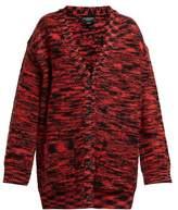 Calvin Klein - Oversized Space-dye Wool Cardigan - Womens - Black Red