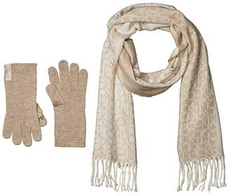 Calvin Klein Two-Piece Woven Border Scarf and Knit Touch Gloves (Heathered Almond) Scarves