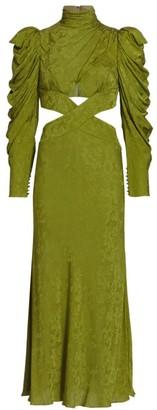 AMUR Giana Puff-Sleeve Cutout Dress