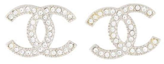 Chanel Strass CC Logo Stud Earrings Silver Chanel Strass CC Logo Stud Earrings