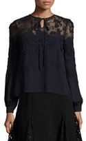 Oscar de la Renta Lace-Illusion Tie-Neck Blouse, Dark Navy/Black