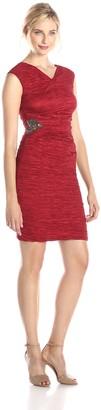 Calvin Klein Women's Cap Sleeve V Neck Side Ruched Dress