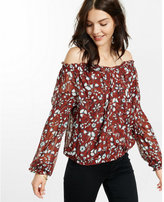 Express off the shoulder floral smocked tie-neck blouse