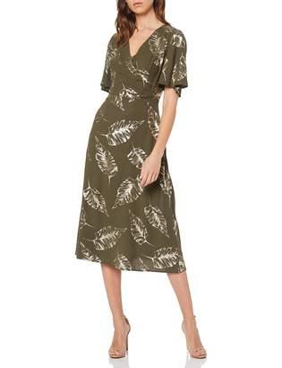 Dorothy Perkins Women's Khaki FOIL Ruffle Front A-Line Dress Green (Khaki 75) 10 (Manufacturer Size:10)