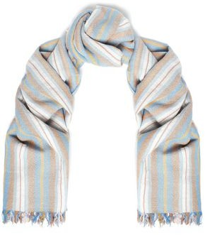 Chan Luu Frayed Striped Cashmere And Silk-blend Gauze Scarf