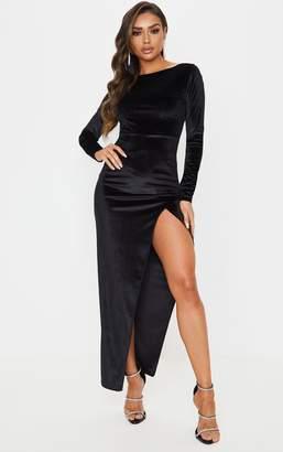 PrettyLittleThing Black Velvet Long Sleeve Thigh Split Maxi Dress