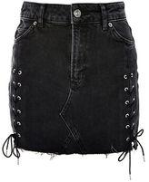 Topshop MOTO Lace Up Denim Mini Skirt