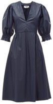 MSGM Shirred-cuff Faux-leather Dress - Womens - Navy
