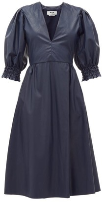 MSGM Shirred-cuff Faux-leather Dress - Navy
