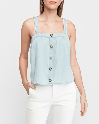 Express Denim Square Neck Button Front Tank