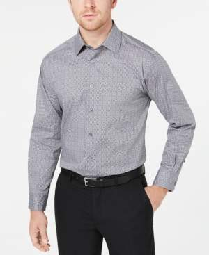 Alfani Men's AlfaTech Classic/Regular Fit Performance Stretch Moisture-Wicking Wrinkle-Resistant Square Tile-Print Dress Shirt, Created for Macy's