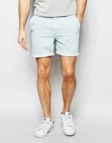 Asos Denim Chino Shorts In Stretch Slim Bleach Blue