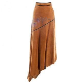 Roberto Cavalli Brown Suede Skirt for Women Vintage