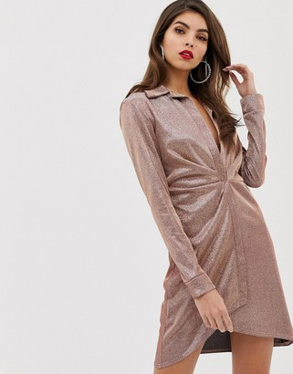 ASOS DESIGN sparkle sexy drape bodycon shirt dress