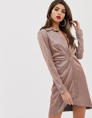 Asos DESIGN sparkle sexy drape bodycon shirt dress