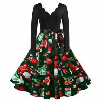 DeHolifer Women Christmas Printed Long Sleeve Dress V-Neck Evening Party Prom Dress 1950s
