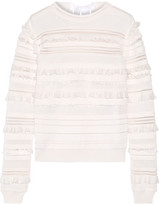 Oscar de la Renta Ruffled And Fringe-trimmed Silk-blend Top - Off-white
