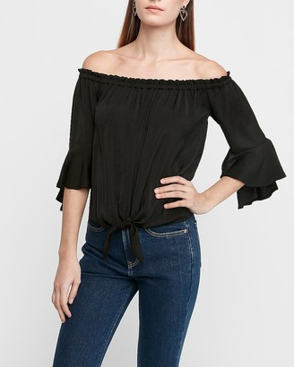 Express Satin Tie Front Off The Shoulder Top