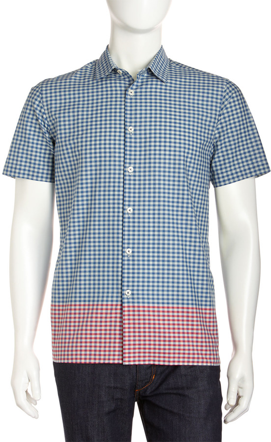 Ben Sherman Contrast-Hem Gingham Shirt, Sea Farer Blue