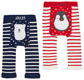Joules Baby Lively Christmas Footless Leggings, Pack of 2, Navy/Red
