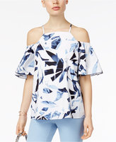 Alfani PRIMA Ruffle-Sleeve Cold-Shoulder Top, Created for Macy's