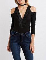 Charlotte Russe Crochet-Trim Cold Shoulder Bodysuit