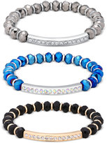 GUESS 3-Pc Set Pavé Beaded Stretch Bracelets