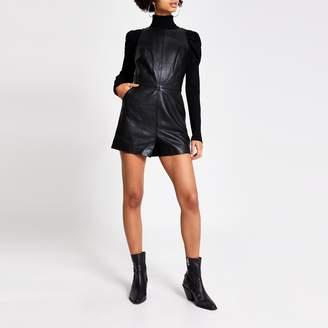 River Island Womens Black leather V back sleeveless playsuit