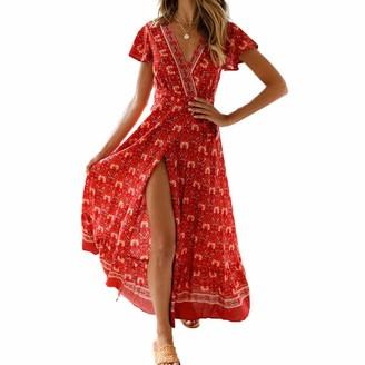 puseky Fashion Women Holiday Dress Print V Neck Short Sleeves Split Belted Long Maxi Dress (Green L)