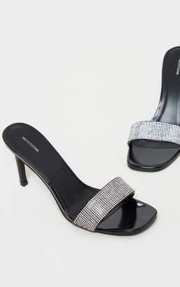 PrettyLittleThing Black Diamante Low Heel Mule
