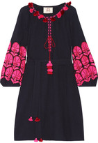 Figue Coco Embellished Embroidered Cotton-gauze Mini Dress - Midnight blue