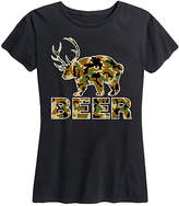 Instant Message Women's Women's Tee Shirts BLACK - Black 'Beer' Camo-Animal Relaxed-Fit Tee - Women