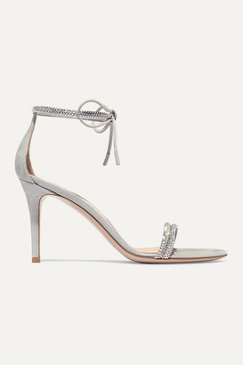 Gianvito Rossi 85 Crystal-embellished Iridescent Suede Sandals - Silver