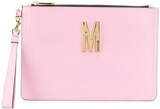 Moschino M logo clutch bag