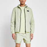 River Island Pastel Tech green nylon hooded jacket