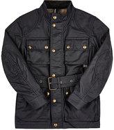 Belstaff Coated-Cotton Belted Jacket-Navy