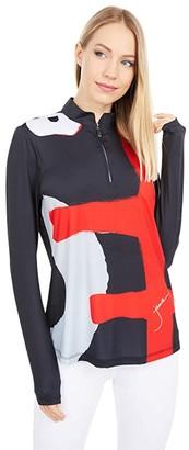 Jamie Sadock Sunsence UVP 50 Long Sleeve Top with Kimono Print (Hot Chili) Women's Workout