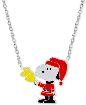 """Peanuts Snoopy"""" Santa Station Pendant Necklace in Fine Silver Plated, 16""""+2"""" extender"""
