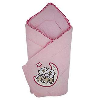 Camilla And Marc BlueberryShop Velour Baby Swaddle Wrap Bedding Blanket   Sleeping Bag for Newborns   Intended for Kids Aged 0-3 Months   Perfect as a Baby Shower Gift   78 x 78 cm   Apricot