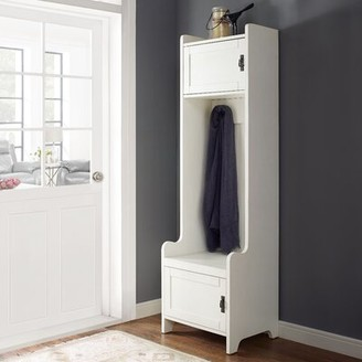 Gracie Oaks Gracie-Mai Hall Tree with Bench and Shoe Storage Color: Distressed White